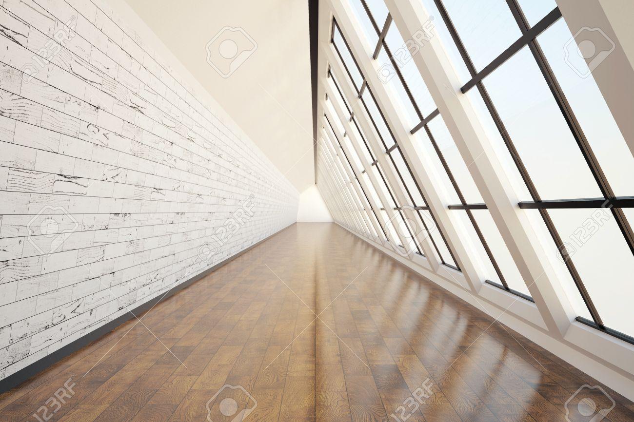 Clean Corridor Interior With Dark Wooden Floor Light Wall Concrete