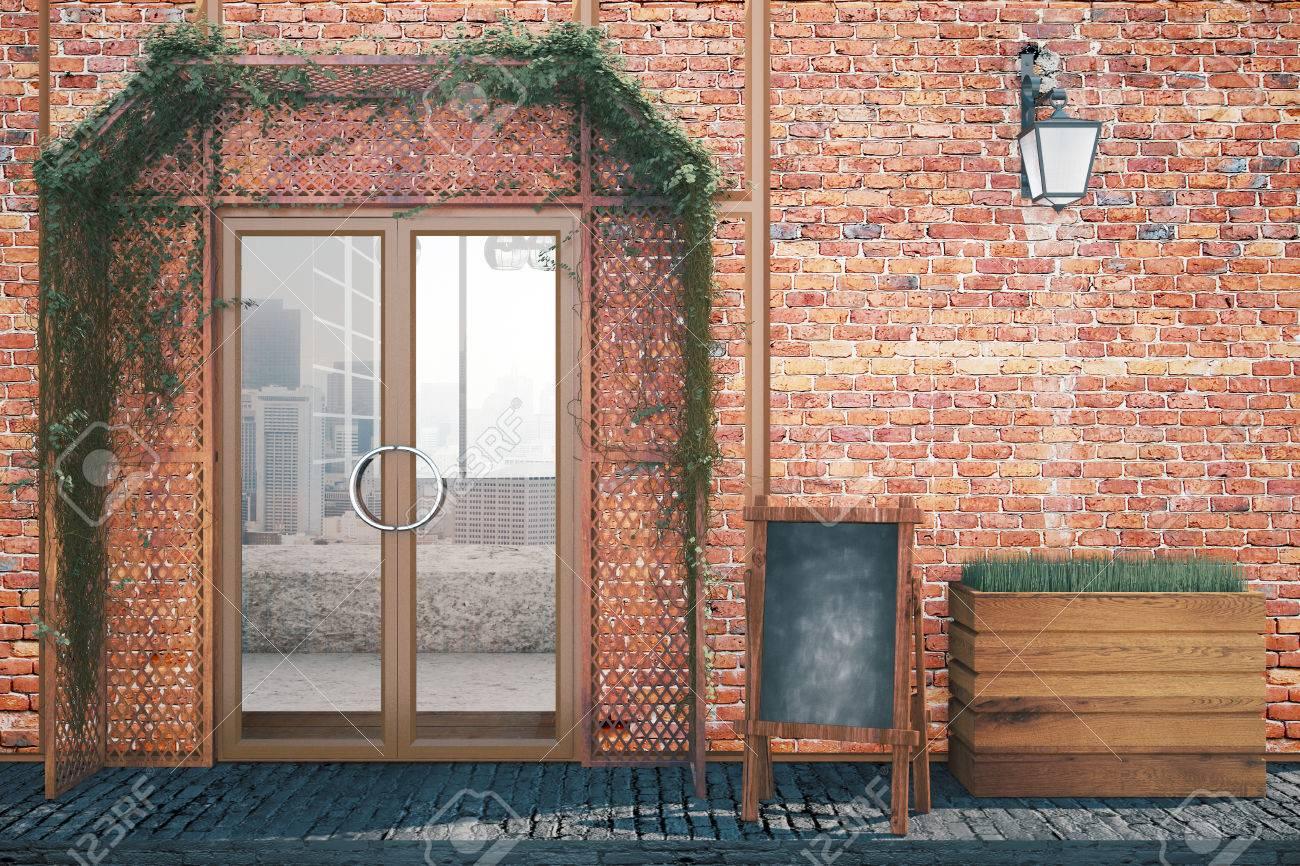 Elegant Red Brick Food Shop Exterior Design With Blank Menu Board, Glass  Doors And Lantern