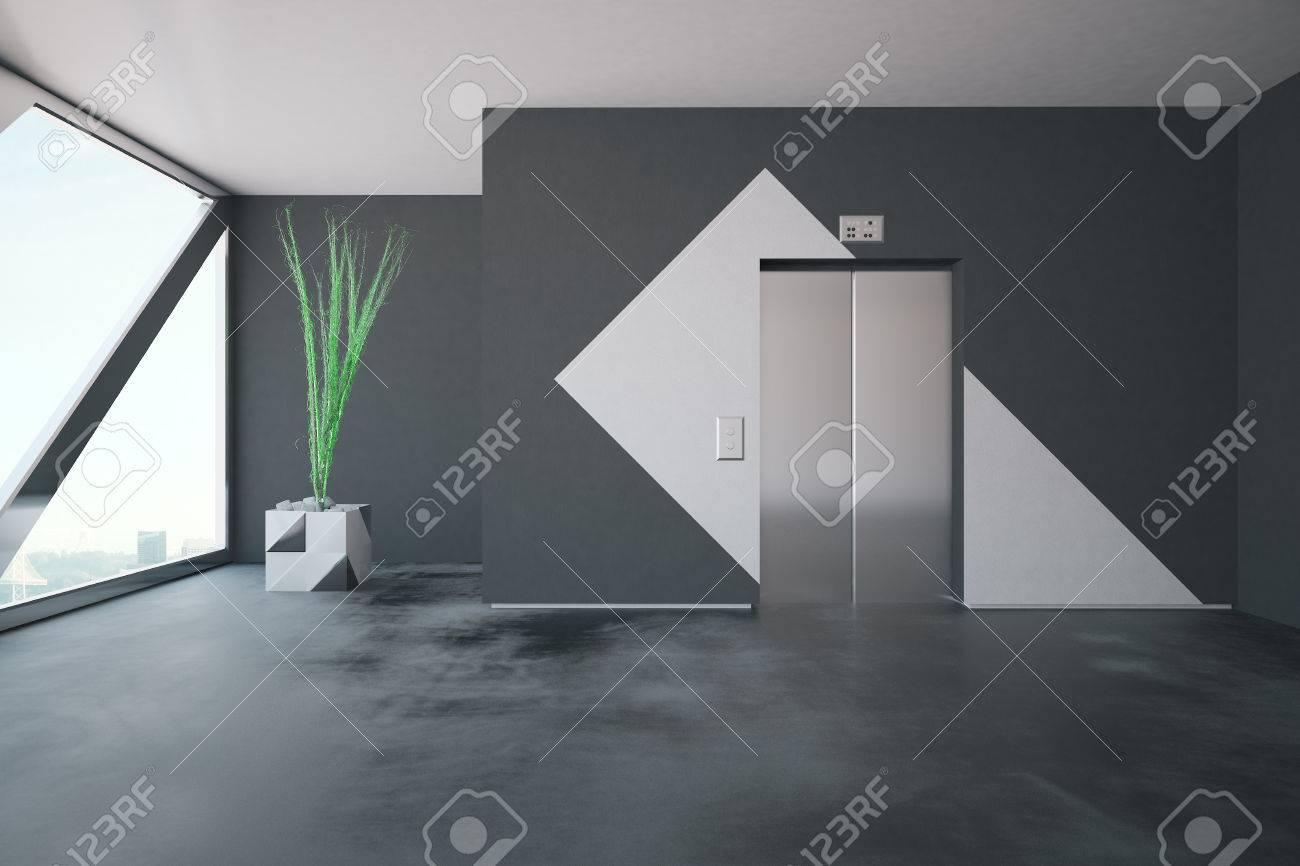 Beton In Interieur : Aufzug in beton interieur mit gemusterten wänden dekorative