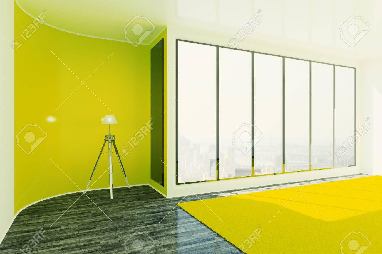 Immagini stock design interno giallo brillante con lampada da