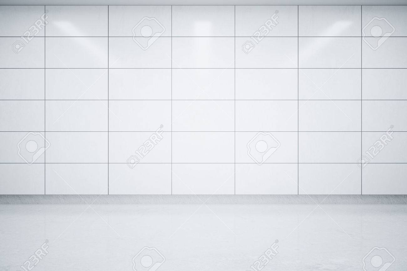 Empty interior with light tile wall and concrete floor mock stock empty interior with light tile wall and concrete floor mock up 3d rendering stock dailygadgetfo Image collections