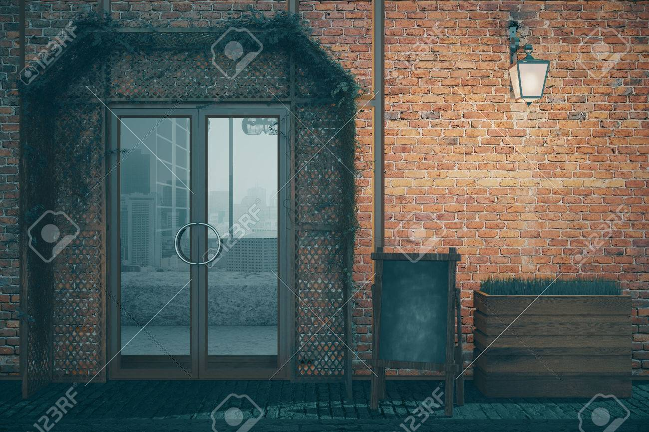 Elegant Red Brick Coffee Shop Exterior Design With Blank Menu Board, Glass  Doors And Lantern