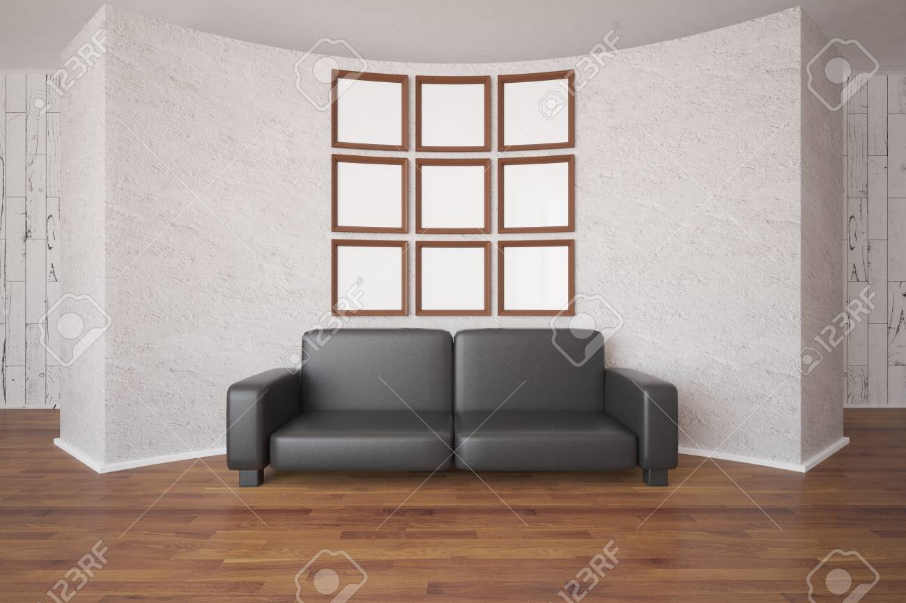 Front View Of Small Empty Picture Frames Organized Into Big Square ...