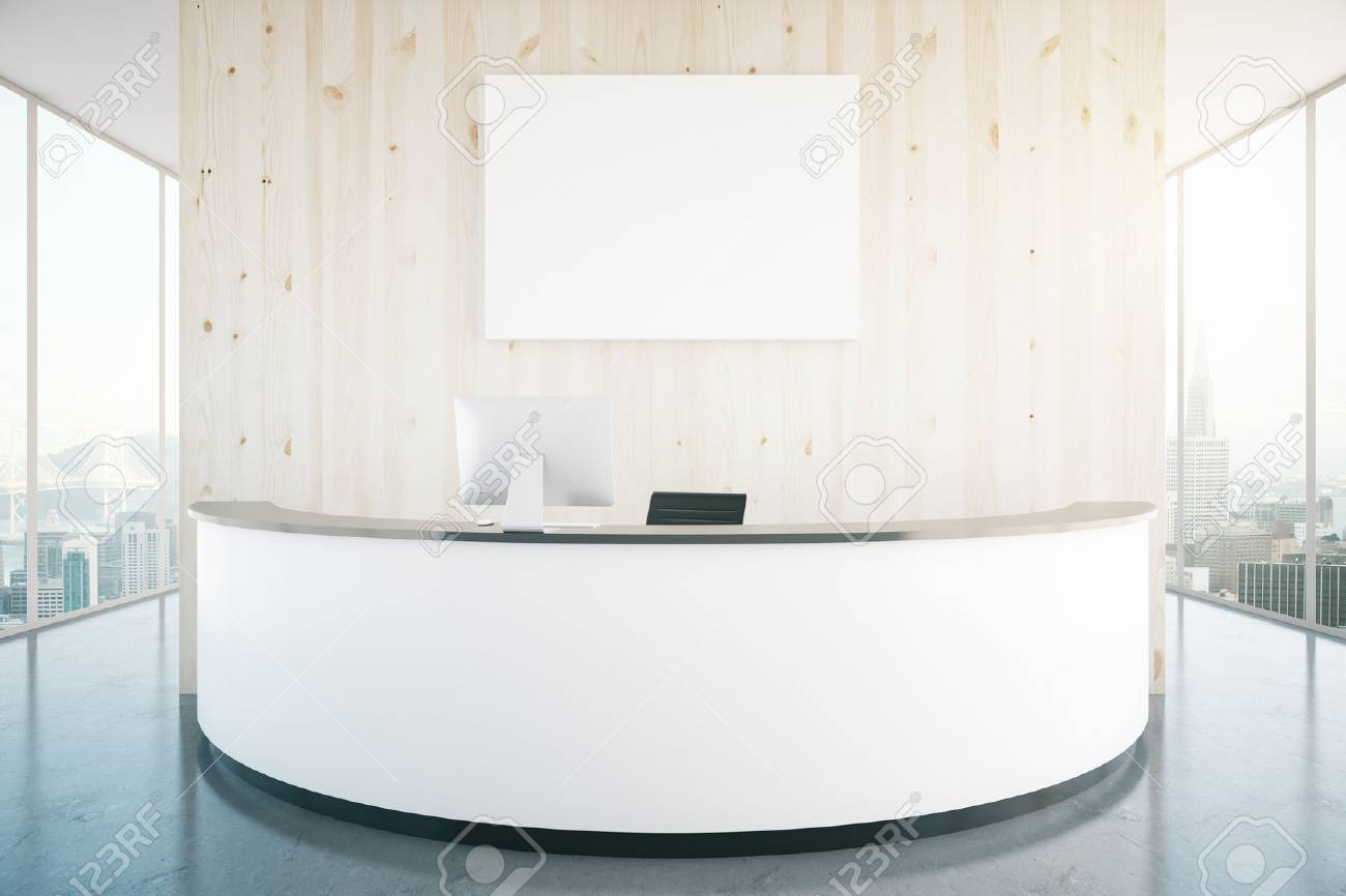modern white reception desk with blank banner in interior with wooden wall shiny floor and