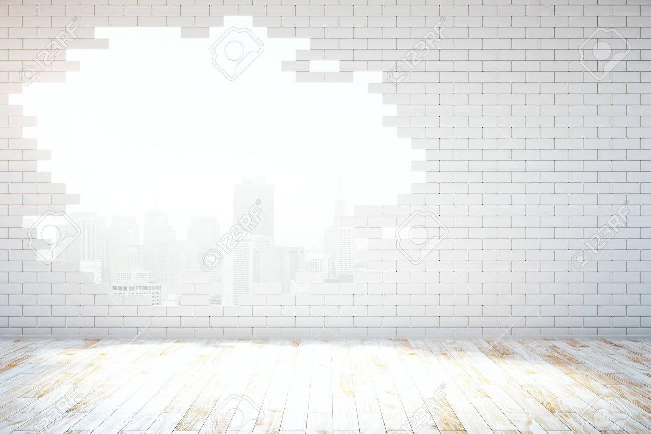 Abstract broken white brick wall with New York city view in room with wooden floor. 3D Rendering - 64816836