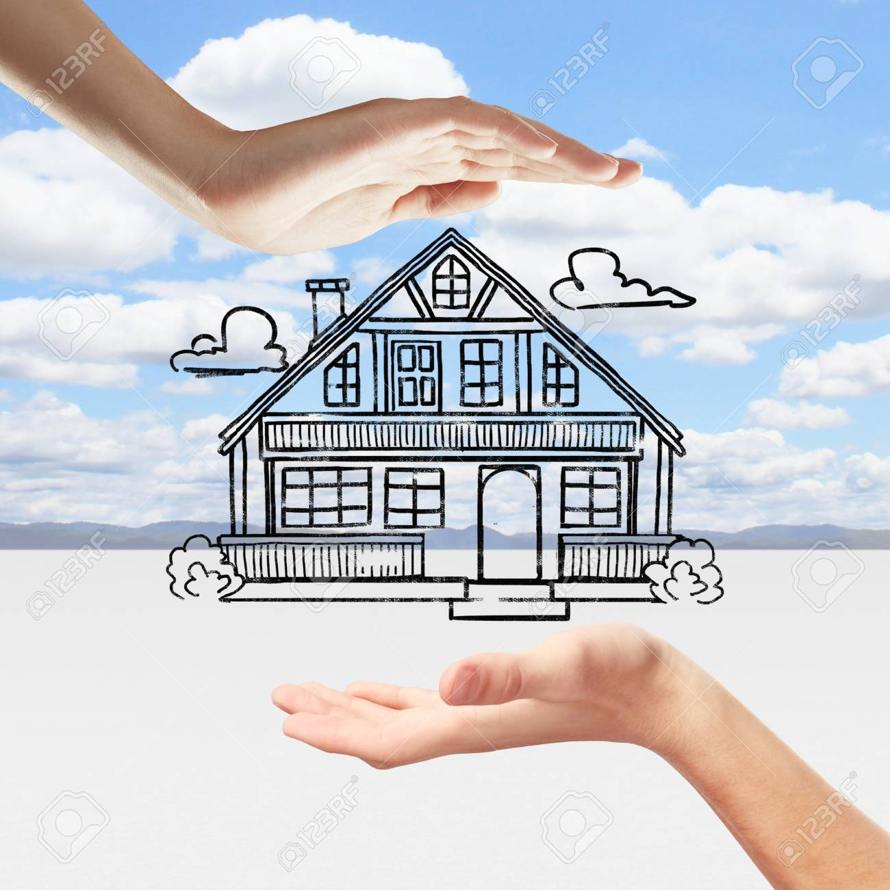 Hands Holding Creative House Sketch On Beautiful Landscape Background Stock Photo Picture And Royalty Free Image Image 63391676