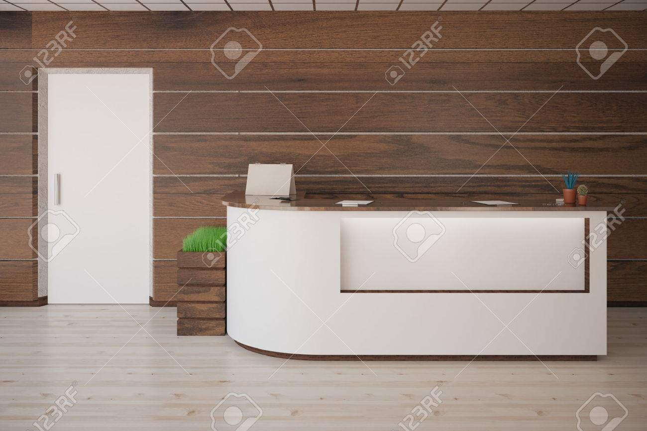 Interior With Several Items On Reception Desk, White Door, Wooden Walls And  Floor.