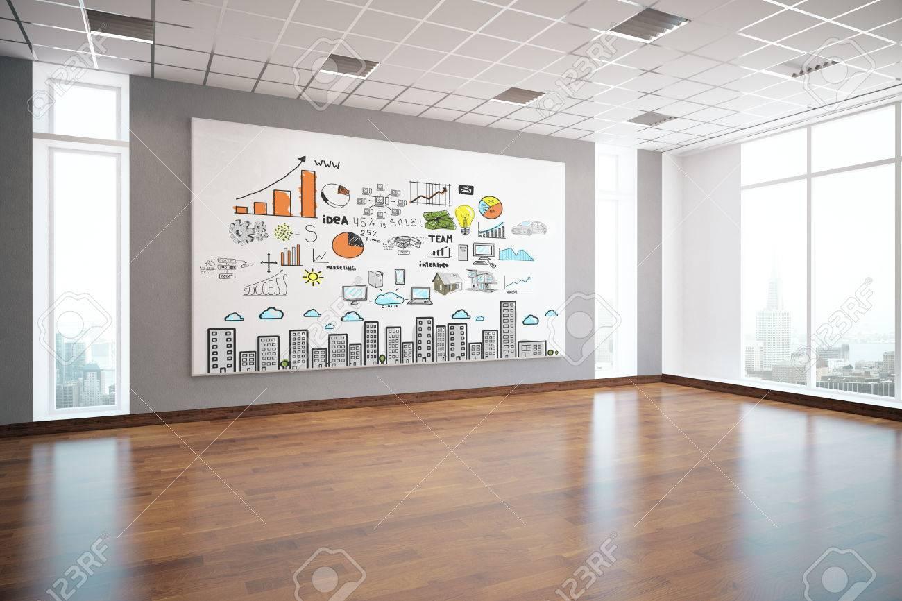 Modern Interieur Wit : Modern interior with creative business sketch on billboard wooden