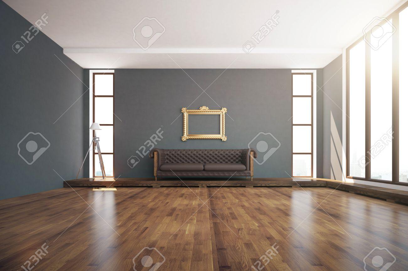 Luxurious interior design with wooden floor dark grey walls floor l& windows with & Luxurious Interior Design With Wooden Floor Dark Grey Walls ...