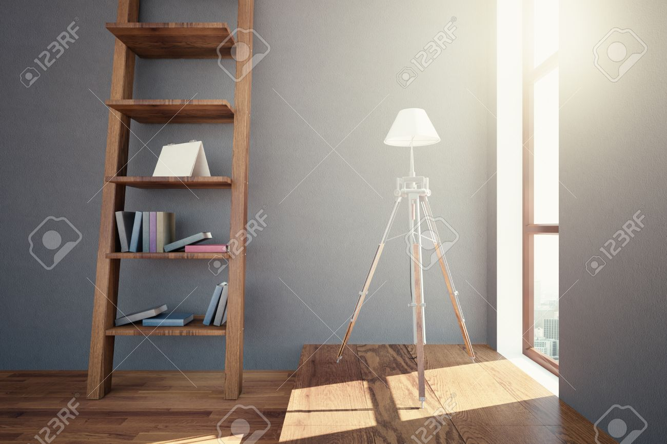 side view of hipster interior design with wooden floor, ladder