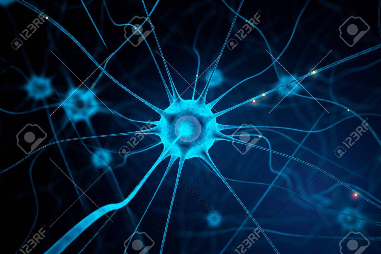Closeup of blue nerve cell on abstract dark background. 3D Rendering Standard-Bild - 63393202