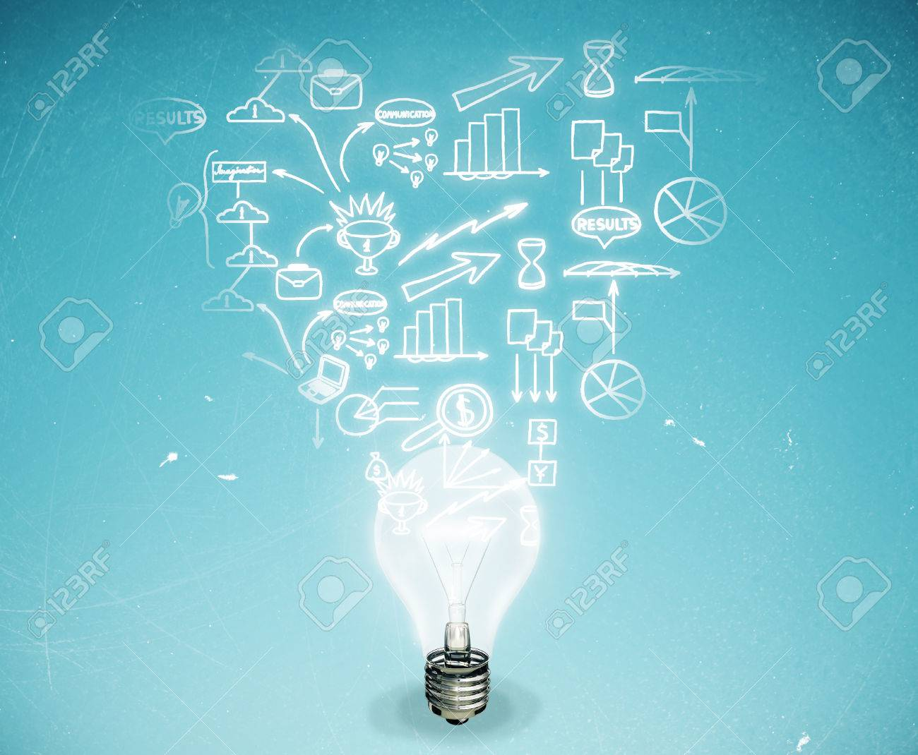 Abstract light bulb with business sketch on light blue background. Business idea concept - 63393206