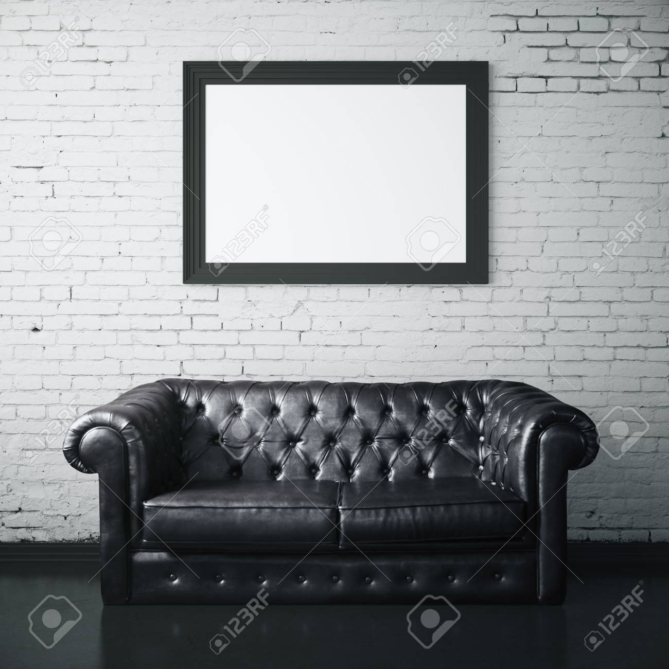 Stock Photo   White Brick Interior With Dark Leather Sofa And Blank Picture  Frame. Mock Up, 3D Rendering