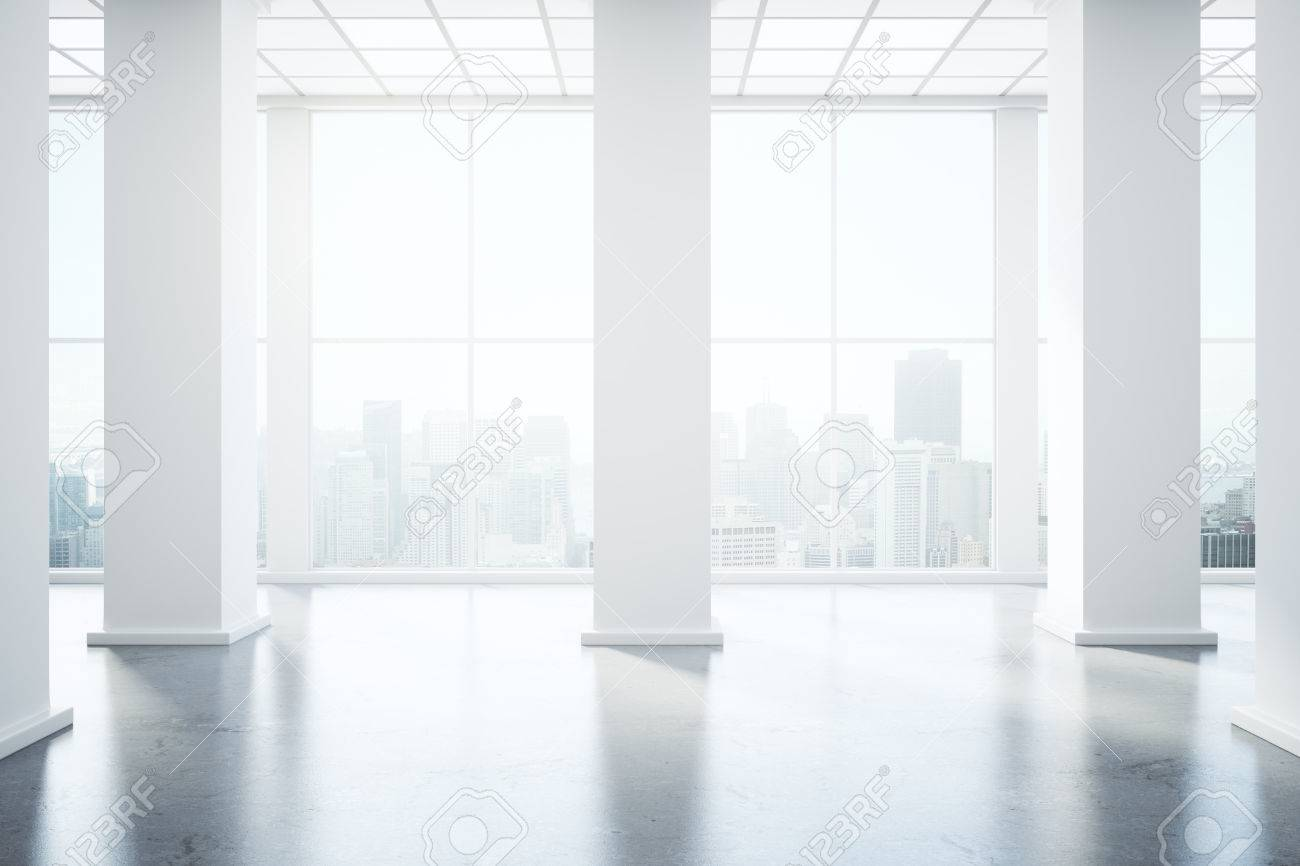 Stock Photo   Unfurnished Interior With Concrete Floor, Columns And  Panoramic Window With City View And Daylight. 3D Rendering