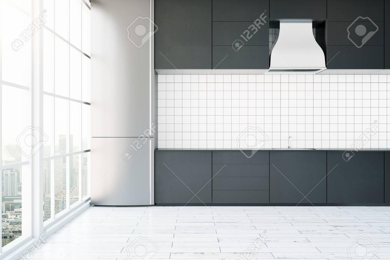 Creativo interno cucina moderna con il bianco pavimento in legno e vista  panoramica sulla città. Rendering 3D