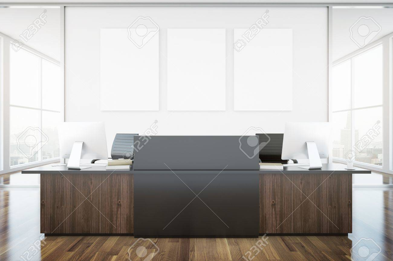 Wooden brown reception desk and blank banner in interior with city view. Mock up, 3D Rendering - 64315662