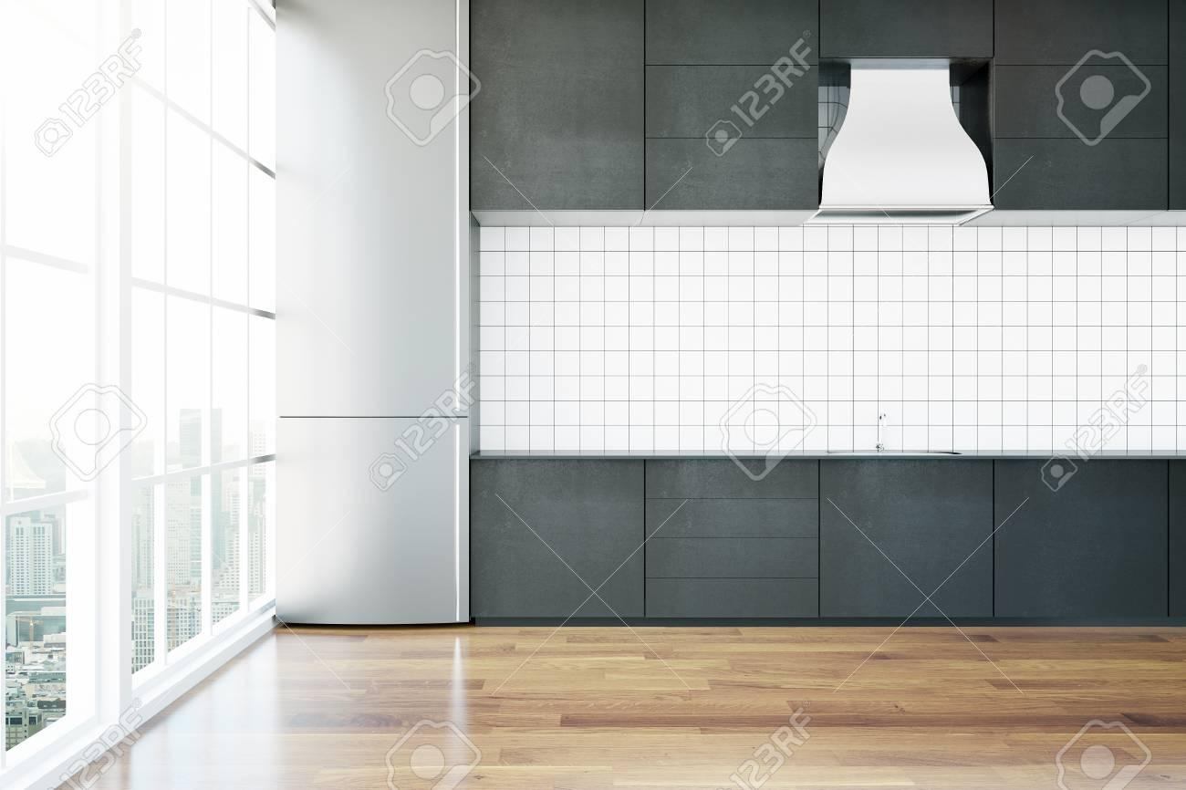 Cucina creativa contemporanea con pavimento in legno e vista panoramica  sulla città. Rendering 3D