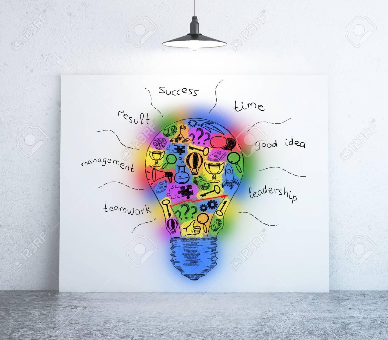 Chambre Avec Un Ebauche D Ampoules Colorees Sur Le Tableau Blanc Concept D Idee Creative Rendement 3d Banque D Images Et Photos Libres De Droits Image 64315557