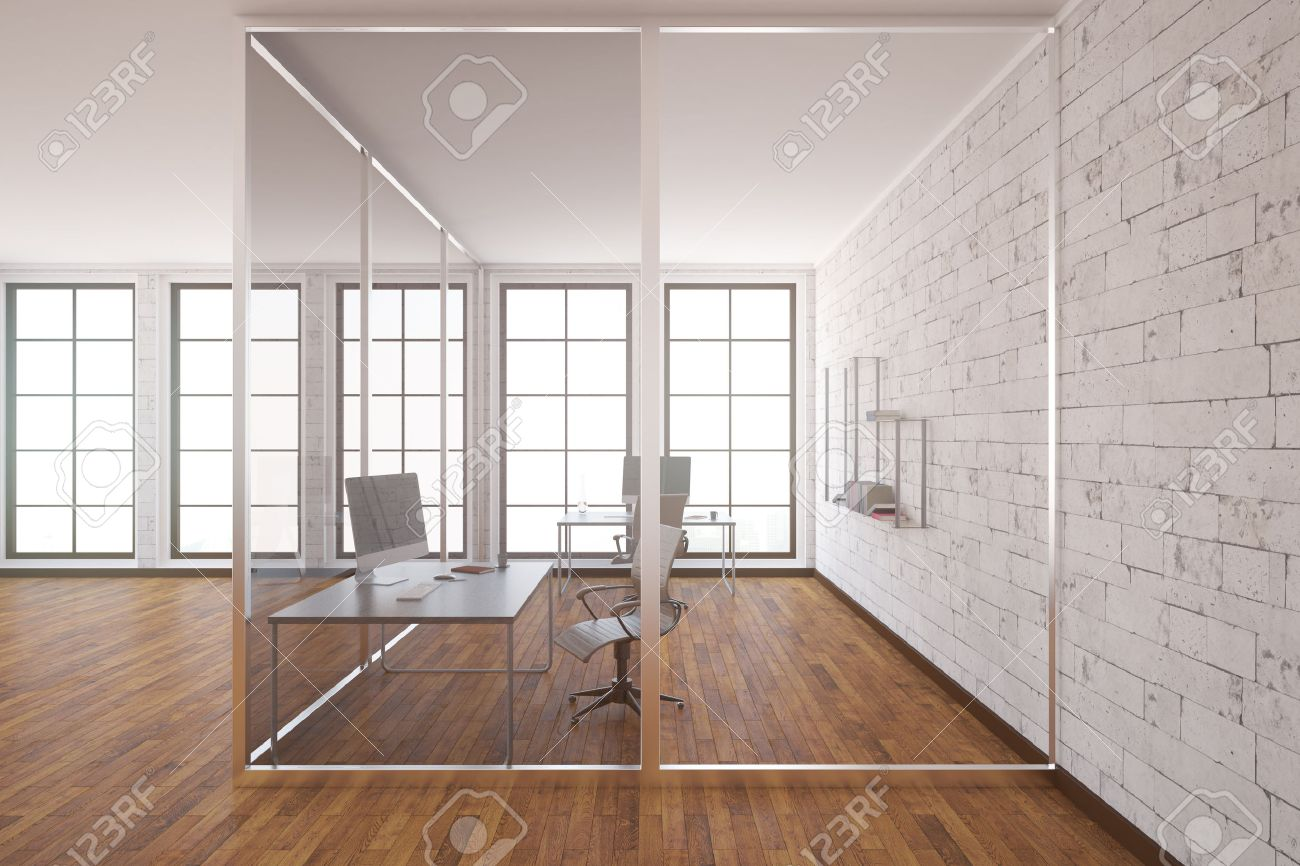 Interior office windows - Modern Glass Box Office Interior With Wooden Floor White Brick Walls And Windows Side