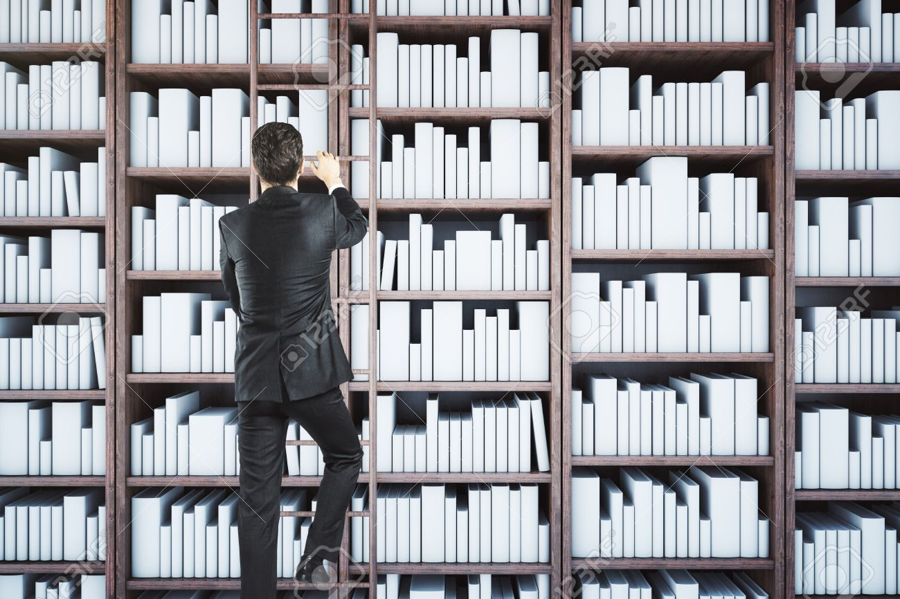 back view of businessman climbing library ladder knowledge concept 3d rendering stock photo