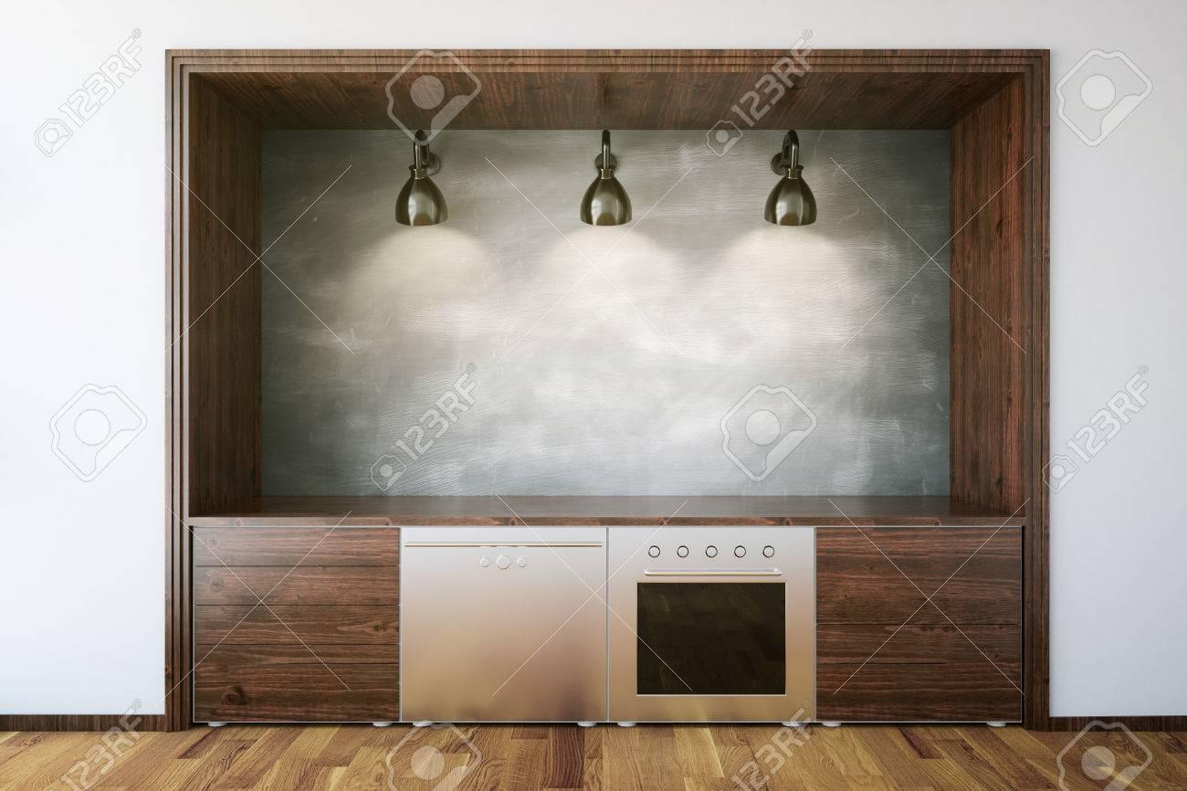 Muebles De Cocina De Madera Con La Pizarra En Blanco En El Interior ...