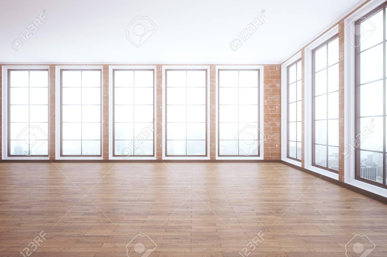 Pareti In Legno Moderne : Interni moderni con pavimento in legno pareti in mattoni rossi e