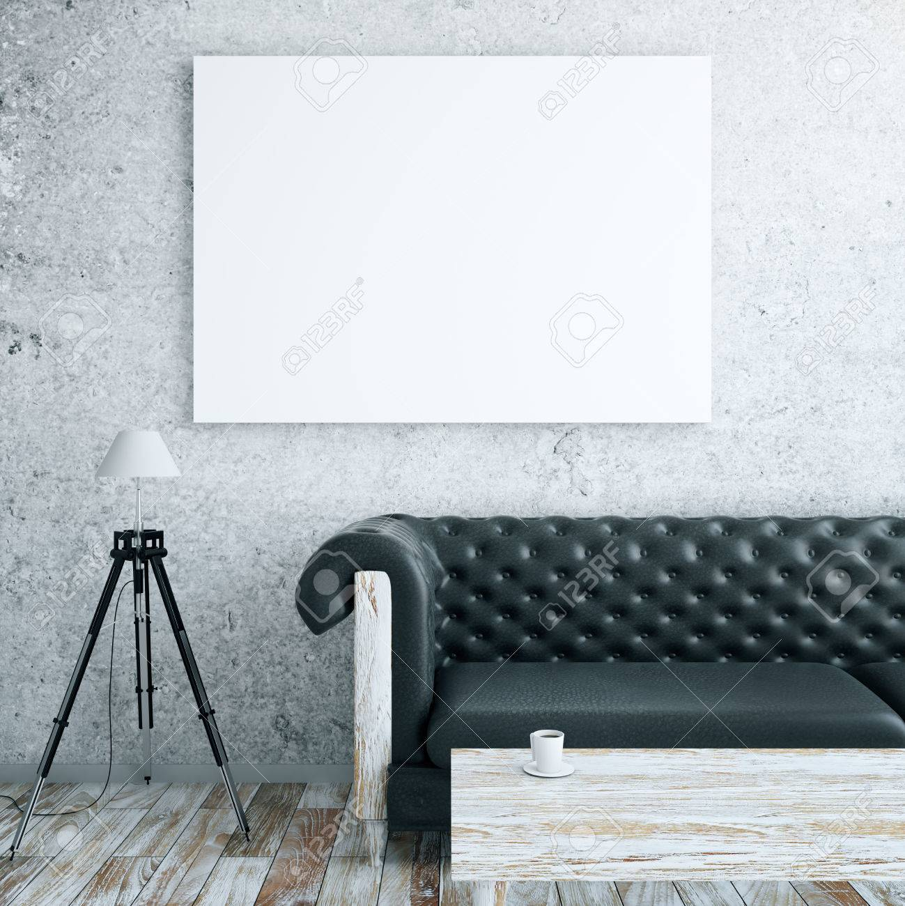 Front view of interior with blank billboard, leather couch, floor lamp and wooden coffee table. Mock up, 3D Rendering Standard-Bild - 64817119