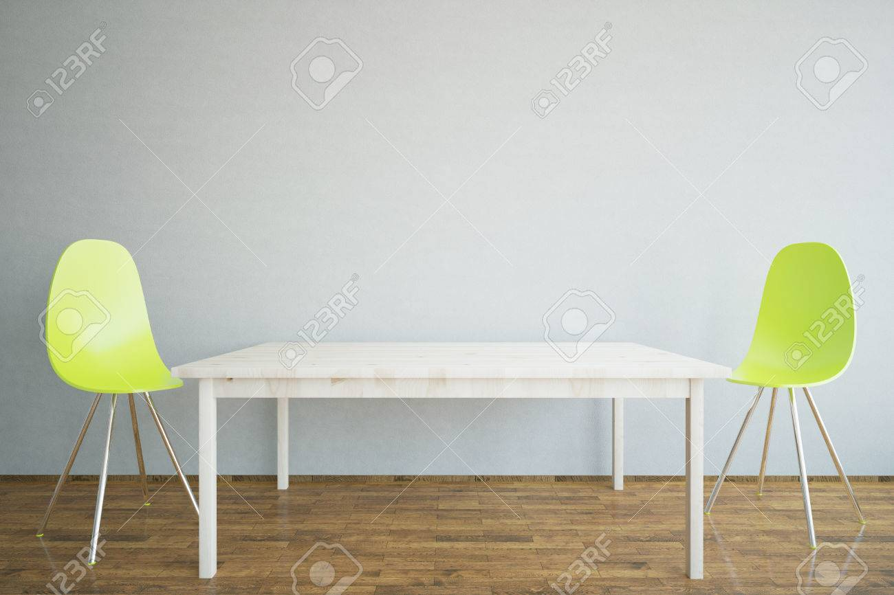 Interior With Blank Concrete Wall, Light Wooden Table, Two Bright Chairs  And Wooden Floor