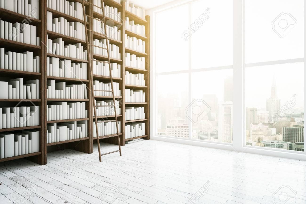 Seitenansicht Der Bibliothek Interieur Mit Holzbucherregale Leichte