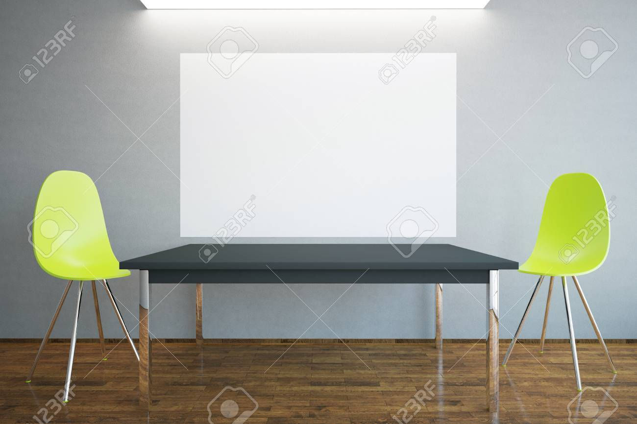 Front view of blank billboard table and two bright chairs in interior with wooden floor : bright chairs - Cheerinfomania.Com