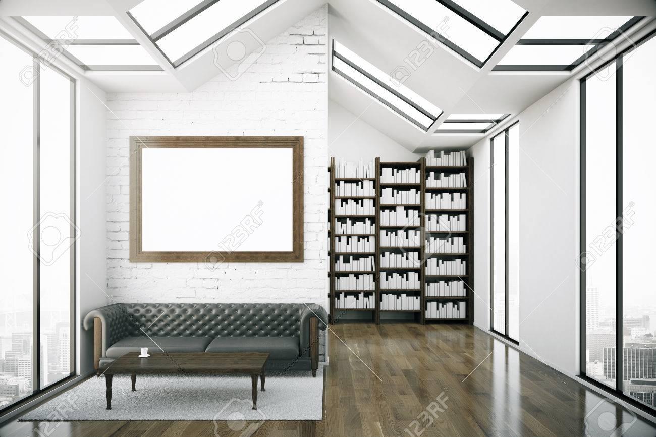 Altillo Interior Creativo Con El Marco En Blanco Imagen, Sofá De ...