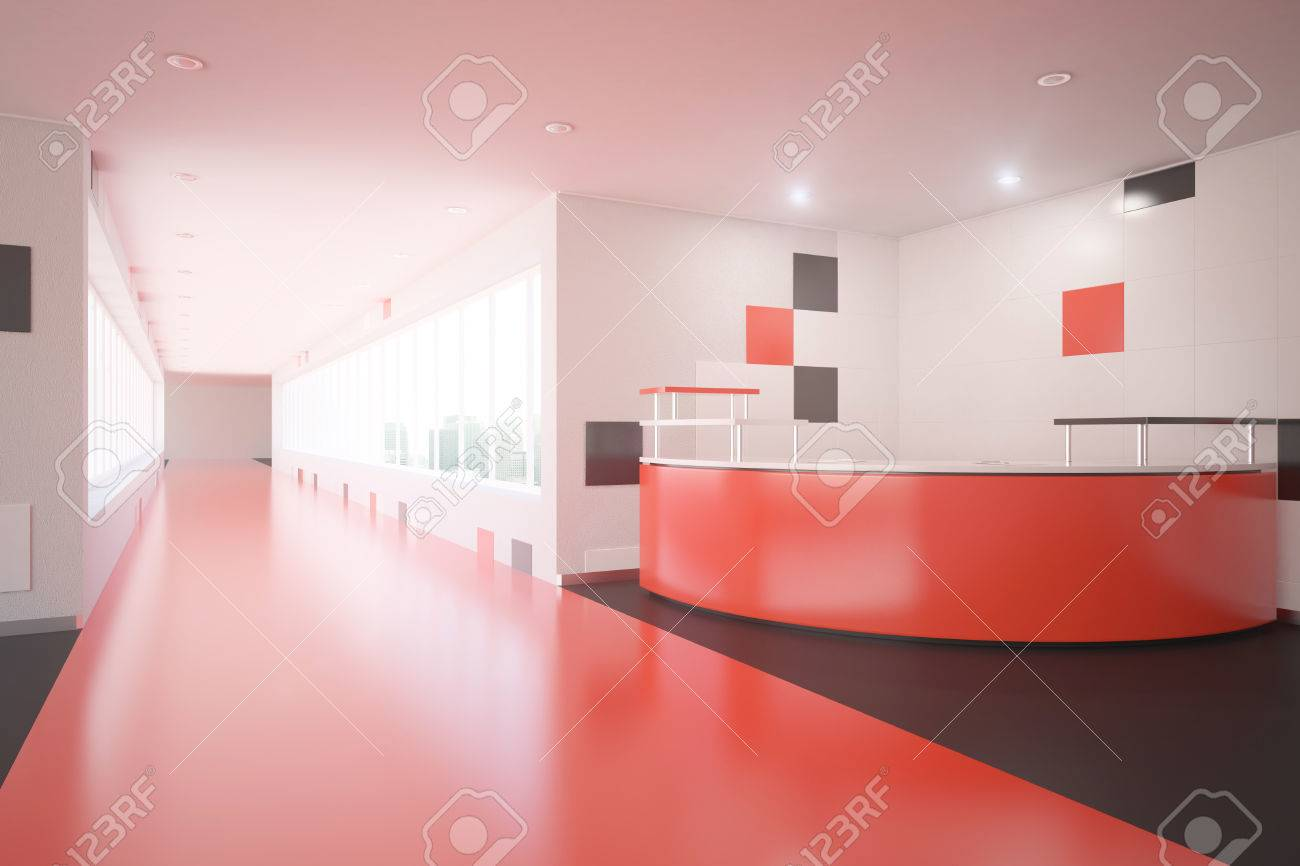 Modern red interior design with reception desk. Office lobby...