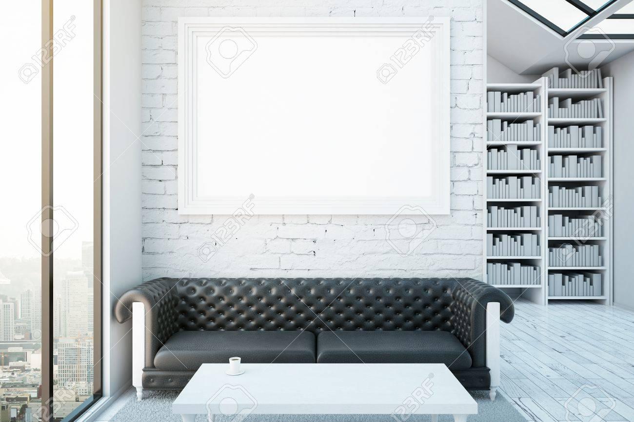 Interior Creativo Con El Marco En Blanco Imagen, Sofá De Cuero ...