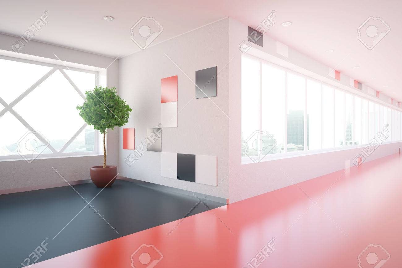 Side view of modern red corridor interior with decorative plant