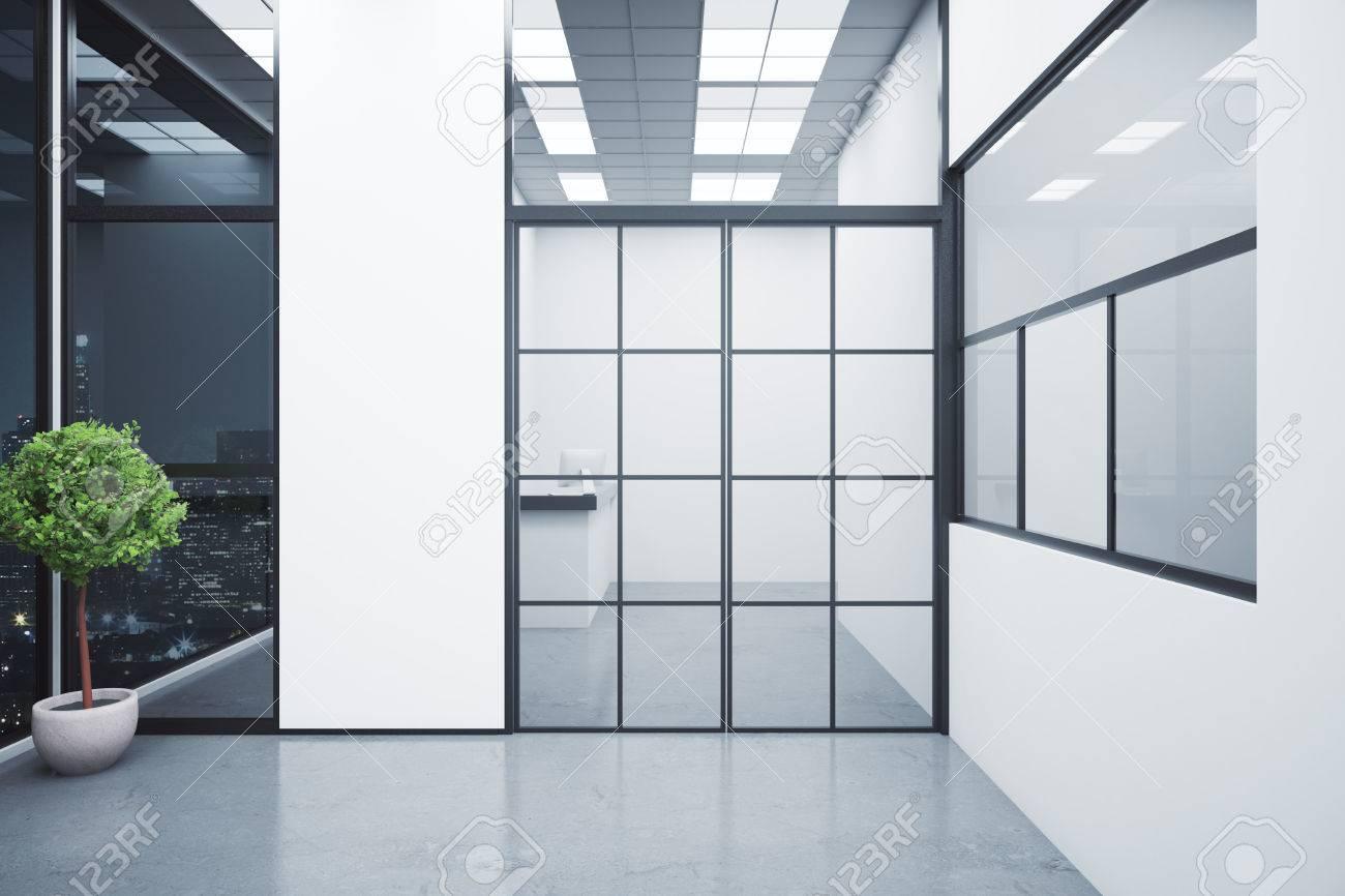 Modern interior with reception desk behind framed glass door modern interior with reception desk behind framed glass door decorative plant and night city view planetlyrics Gallery