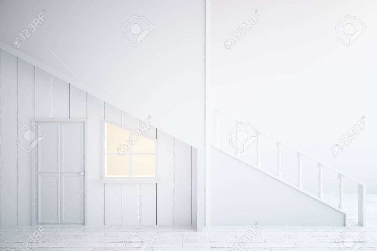 modern white interior door. Side View Of Modern White Interior With Staircase, Door And Window. 3D Rendering Stock D