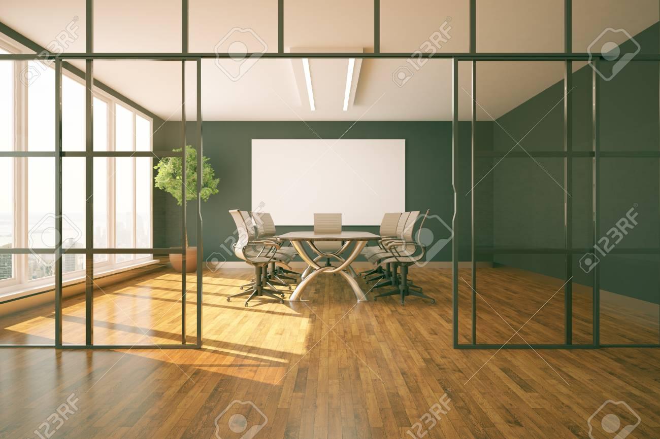 Sala Giorno Moderna.Sala Riunioni Moderna Con Vista Sulla Citta E La Luce Del Giorno Rendering 3d