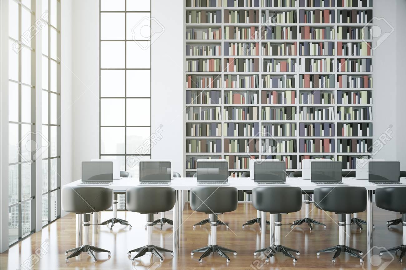Vue de côté de l\'intérieur de la bibliothèque contemporaine. rendu 3D