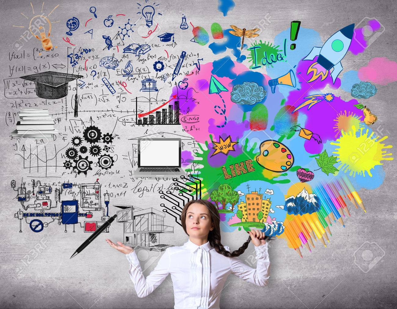 creative and analytical thinking concept confused girl creative and analytical thinking concept confused girl colorful sketch on concrete background stock photo