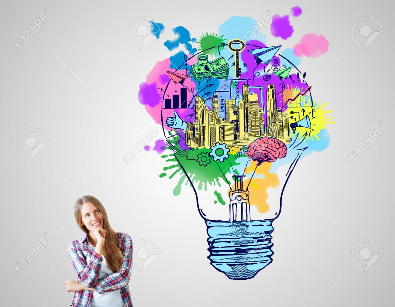 Cheerful european woman with creative sketch on grey background. Business ideas concept - 68507954