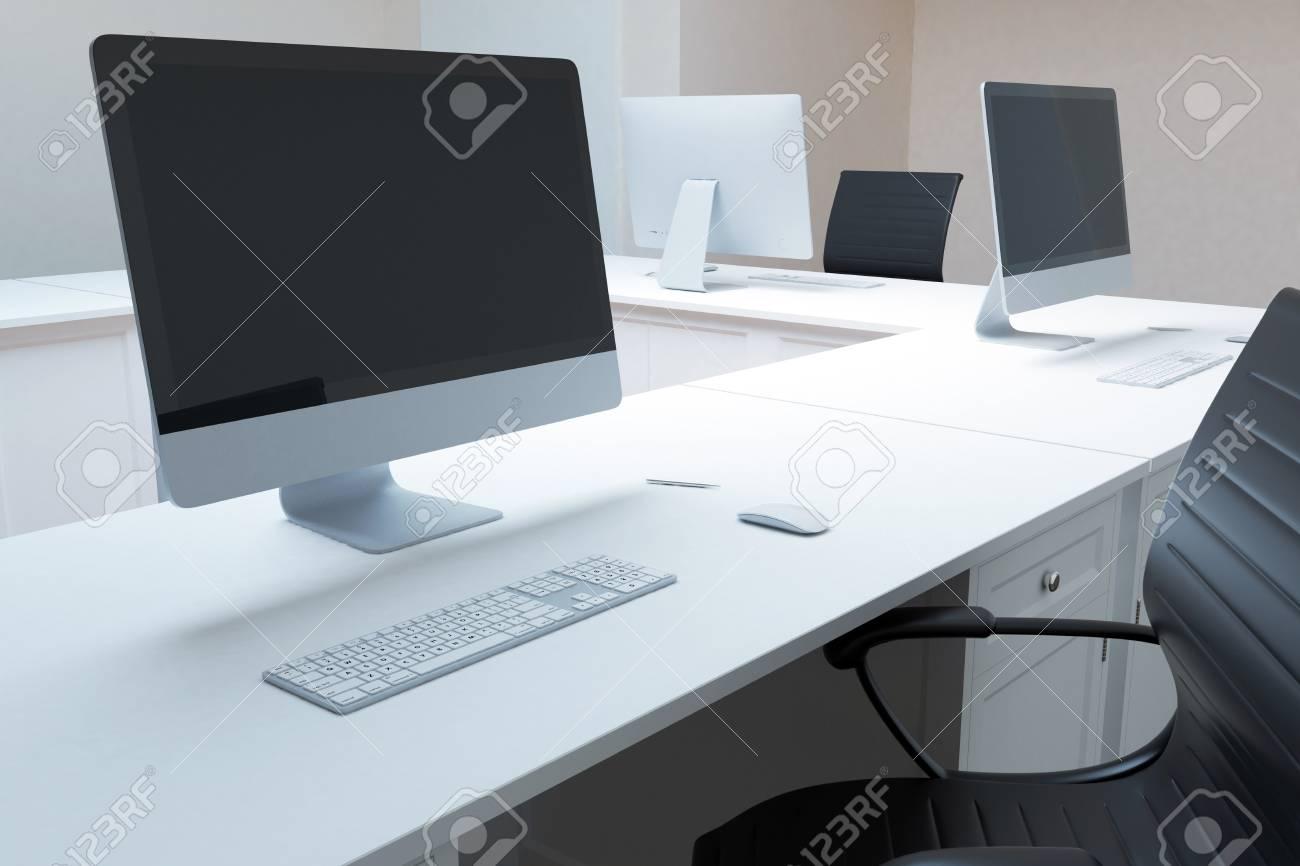 Bureau ordinateur blanc ordinateur de bureau blanc bureau bureau