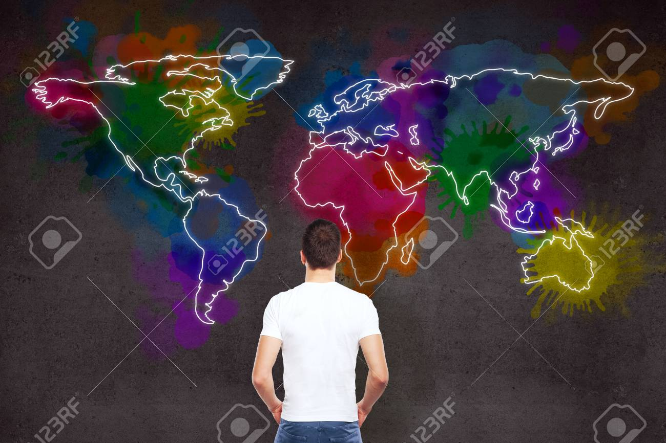 Businessman and drawing large world map on wall stock photo picture businessman and drawing large world map on wall stock photo 70538381 gumiabroncs Choice Image