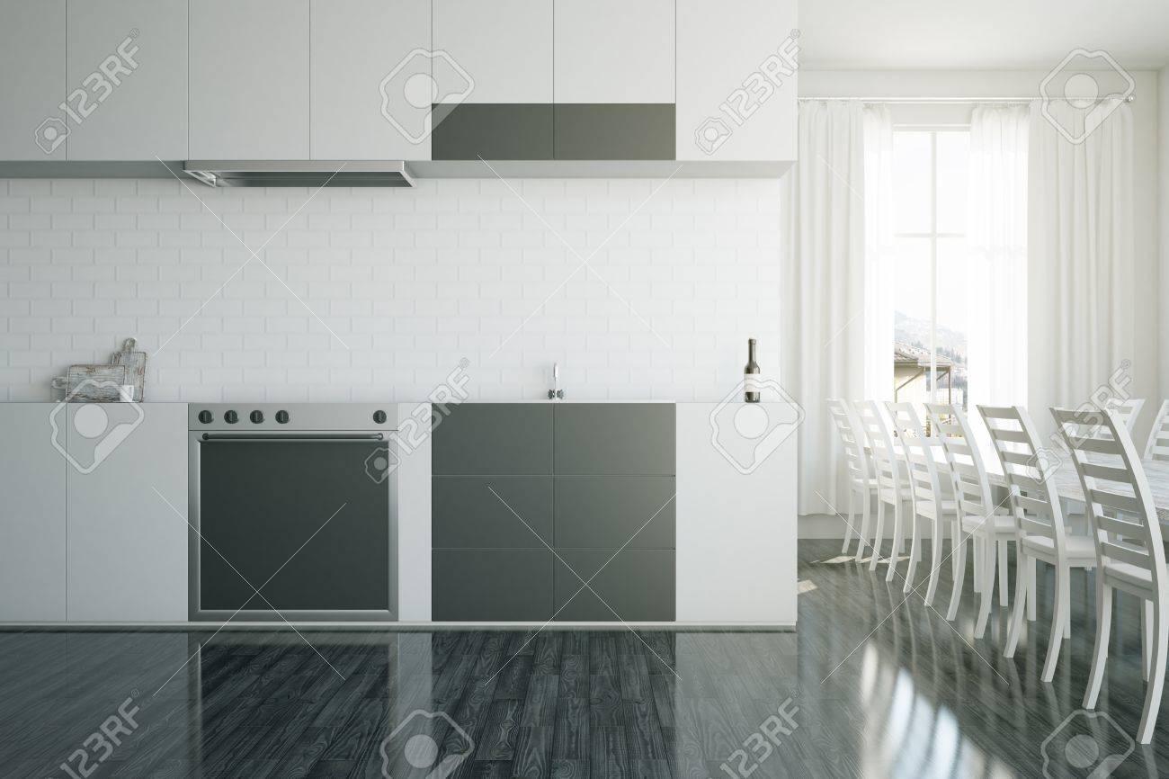 Interni moderni di cucina moderna con attrezzature, zona pranzo e vista  sulla città. Rendering 3D