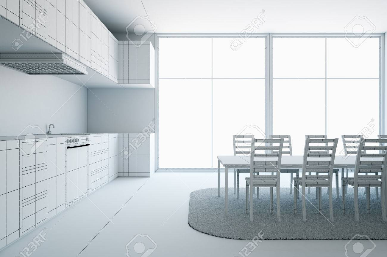 Unfinished Modern Furnished Kitchen Interior Project. 3D Rendering ...