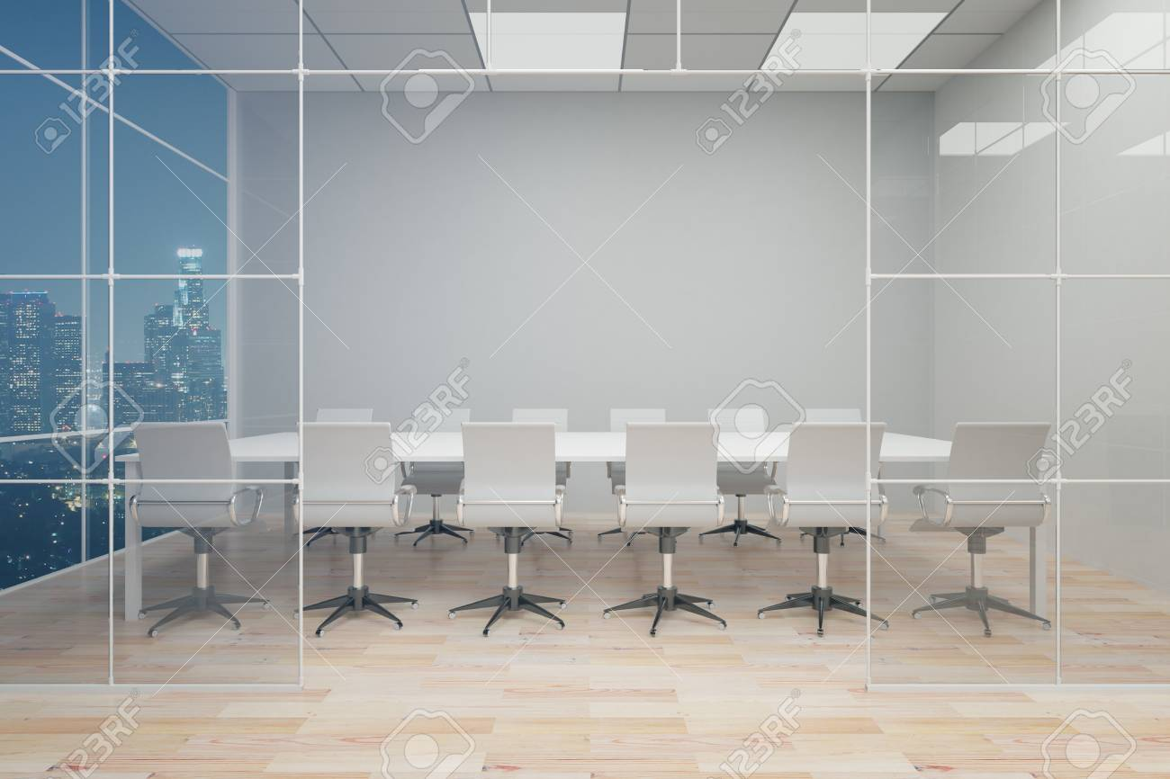Front View Of Modern Conference Room With Blank Grey Wall Wooden - Grey conference table