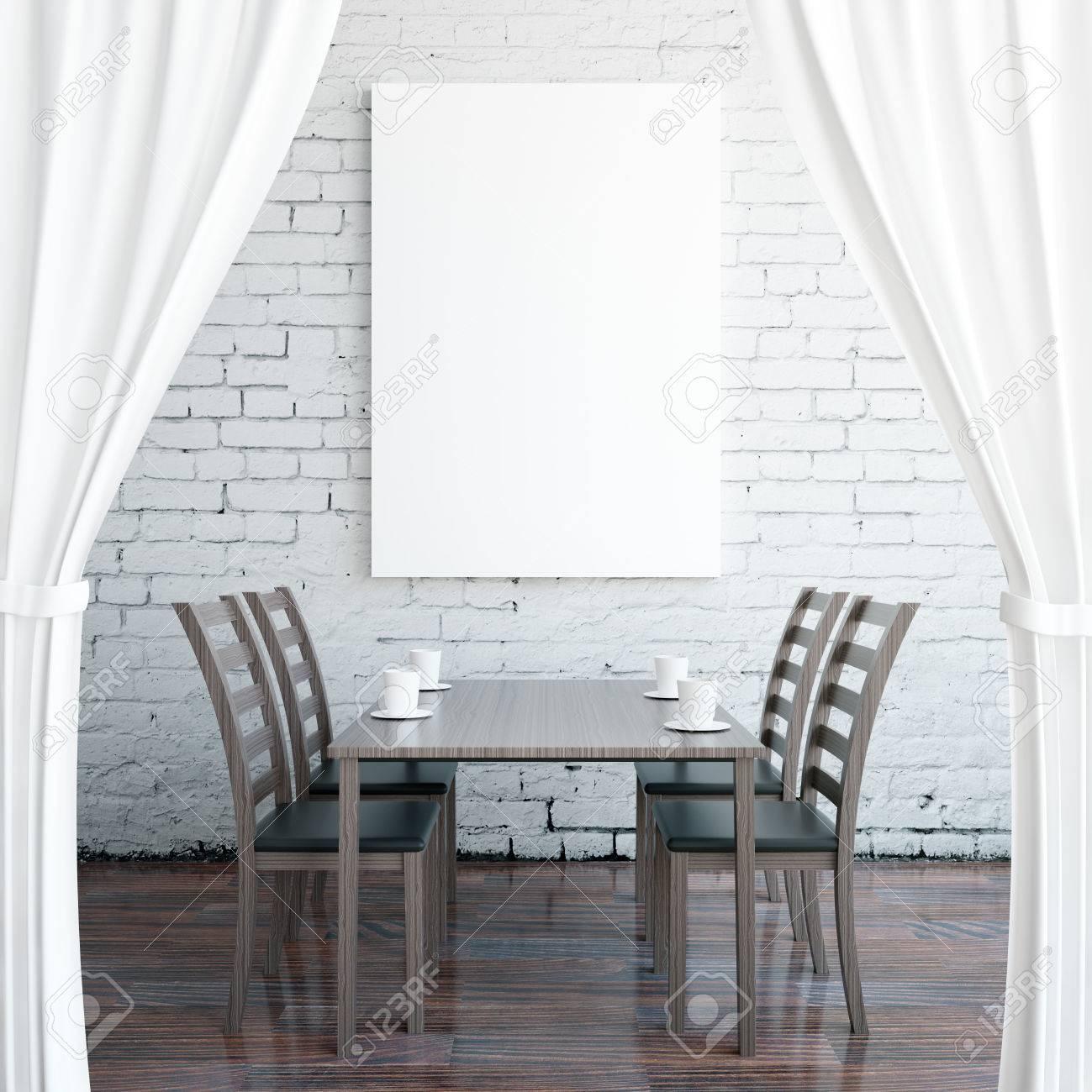 Creative Cafe Interior With Dark Wooden Floor Empty Poster On
