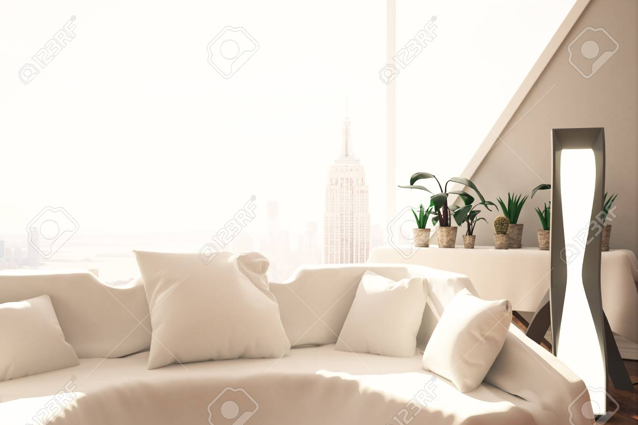 Swell Close Up Of White Sofa With Pillows In Interior With Floor Lamp Squirreltailoven Fun Painted Chair Ideas Images Squirreltailovenorg