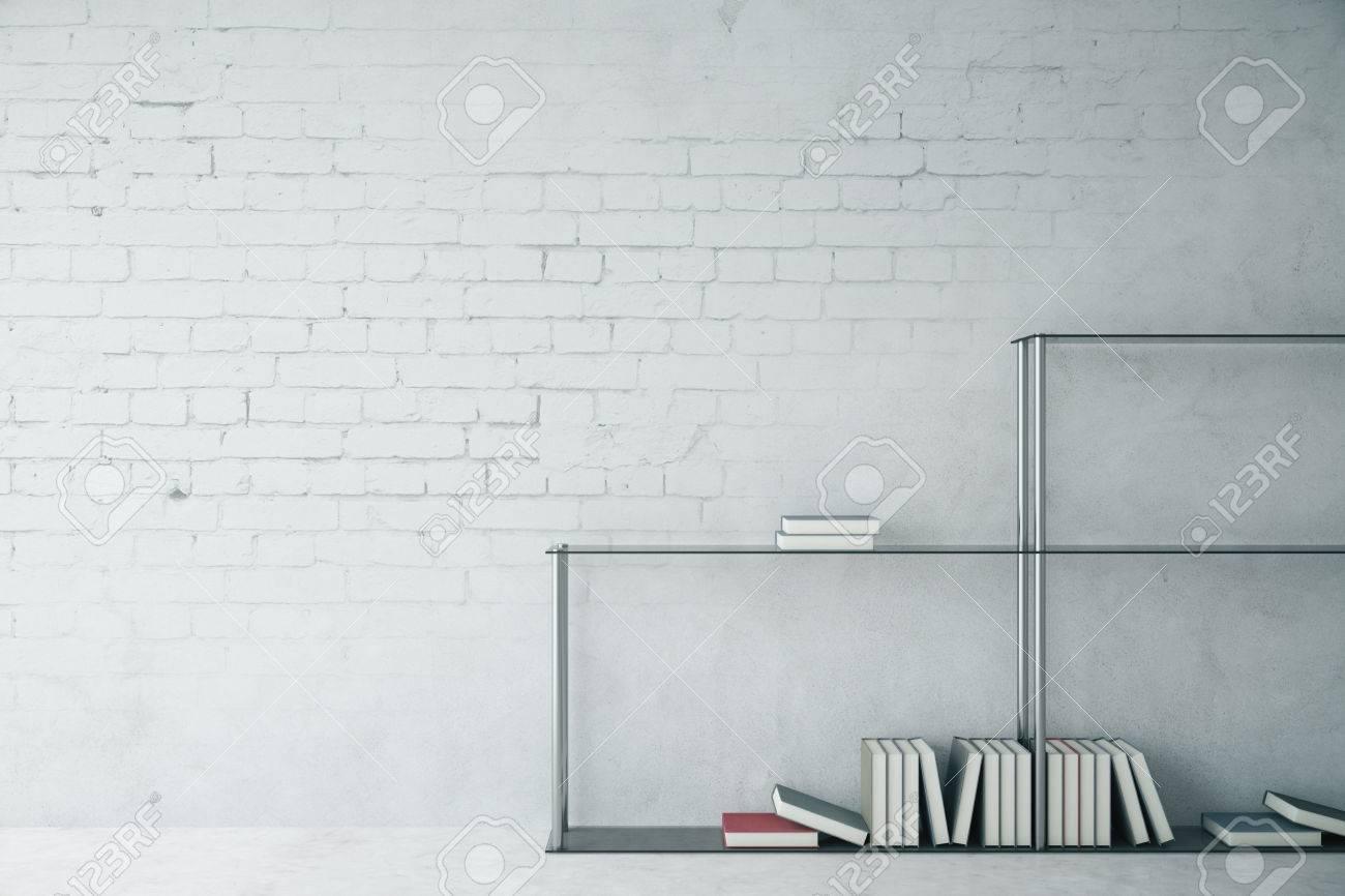 Etagere Sur Mur En Brique intérieur en briques blanches avec étagère moderne et mur blanc. maquette,  rendu 3d