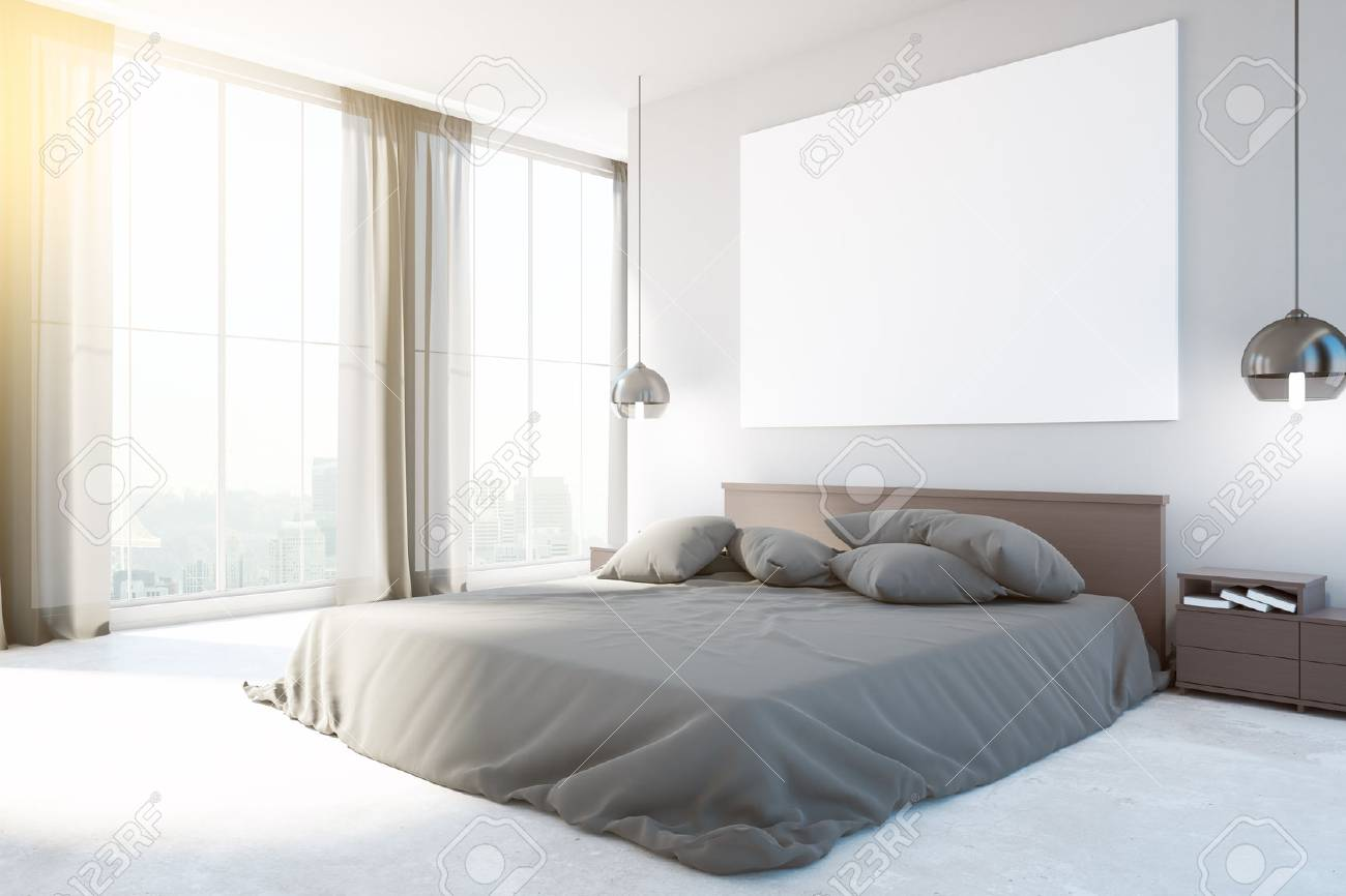 Nuovo interno camera da letto con mobili, lavagna vuota, vista sulla città  e luce del giorno. Vista frontale, Mock up, Rendering 3D