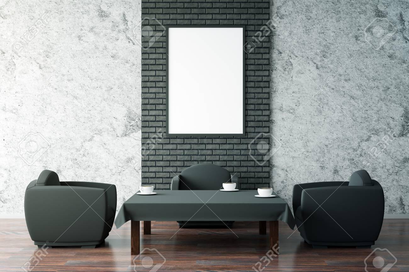 modern interieur met zwarte salontafel twee fauteuils en een lege schilderijlijst gezellig caf